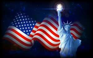 Image of United States flag and the Statue of Liberty