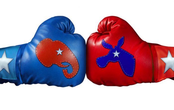 Republicans vs. Democrats boxing gloves