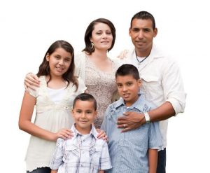 happy mexican family portrait