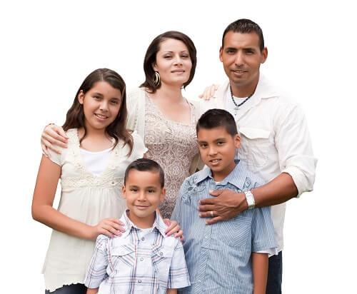 happy mexican family portrait