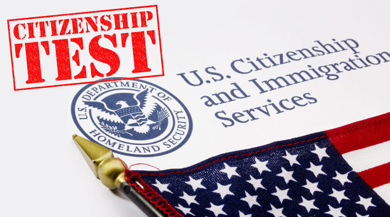 immigration citizenship test and American Flag
