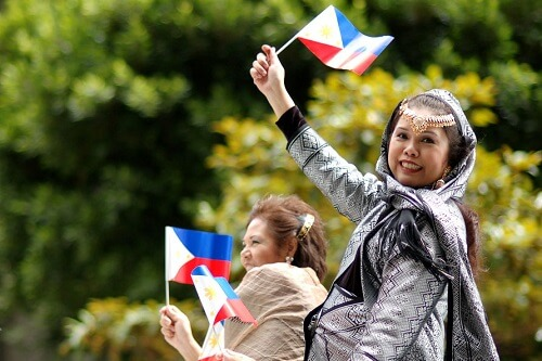 Filipina women in a parade