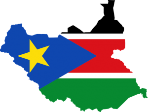 South Sudan flag in map graphic